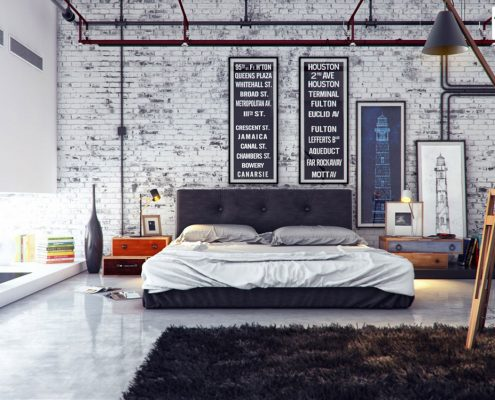 چیدمان مدرن و صنعتی اتاق خواب