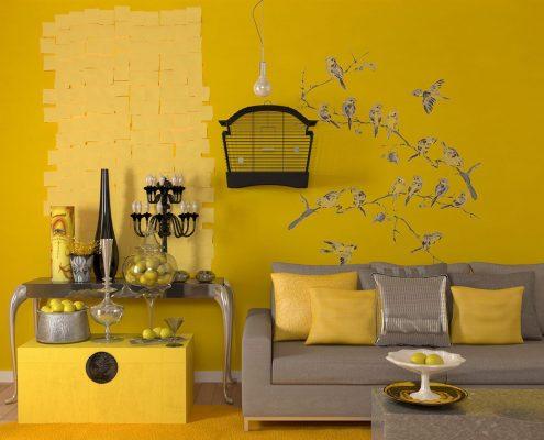 دکوراسیون اتاق نشیمن به رنگ زرد